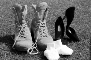 army boot, stiletto heels and baby booties baby pregnancy announcement