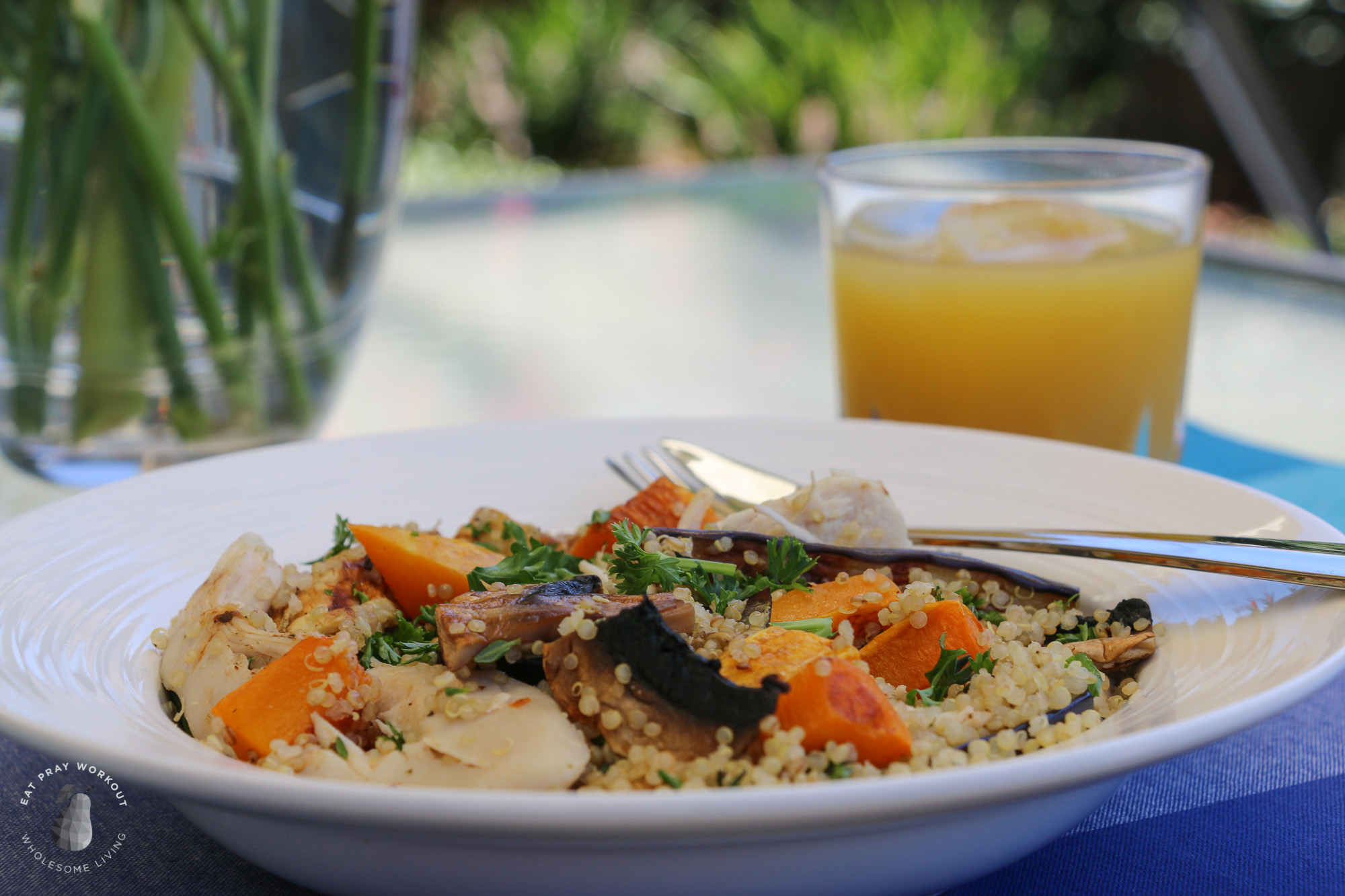 Quinoa Chicken and Roast Vegetable Salad - Eat Pray Workout