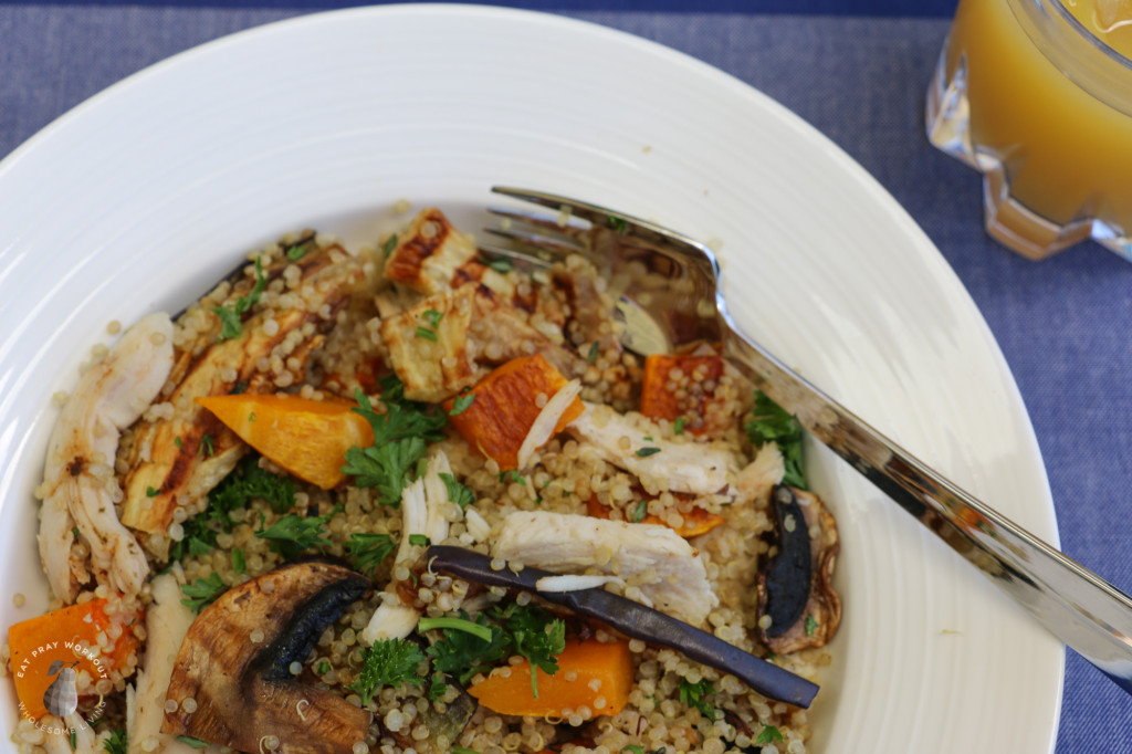 Quinoa chicken and roast vege salad Eat Pray Workout-4