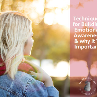 woman looking into distance outdoors and emotional awareness techniques text