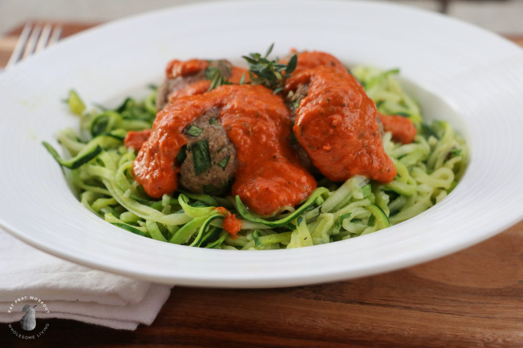 turkey meatballs with roasted capsicum sauce and zoodles recipe eat pray workout-6