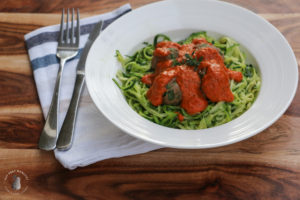 healthy turkey meatballs with roast capsicum sauce and zoodles