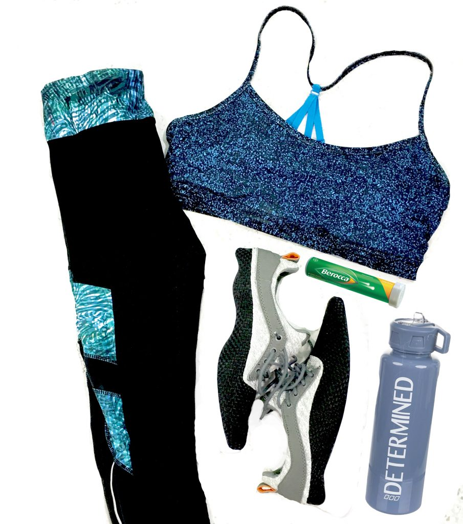 workout clothes flat lay