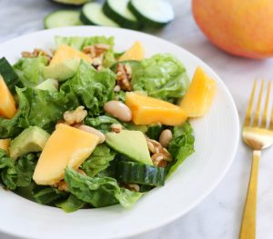 Fresh healthy colourful Calypso Mango, Avocado and Bean Salad