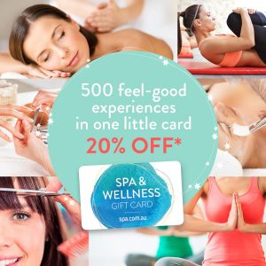 spa and wellness gift card with collage of women working out, getting pampered