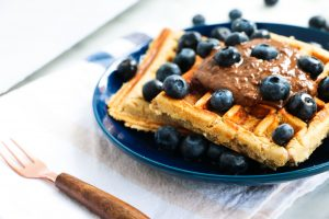 Gluten Free Dairy Free Protein Waffles + Pea Protein with blueberries