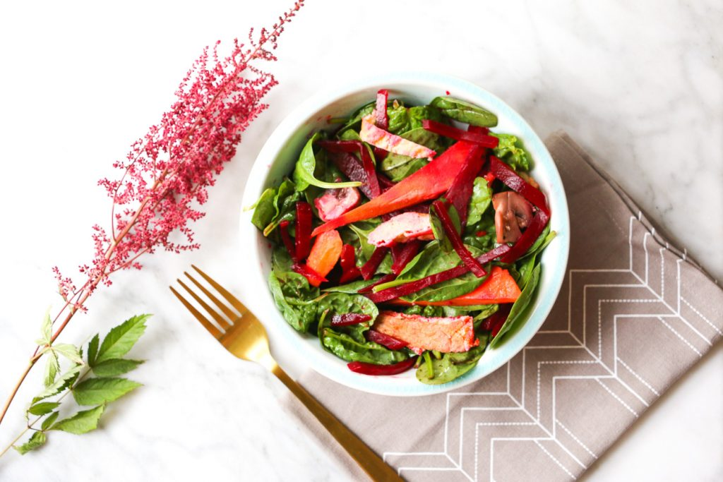 Tofu, Beetroot and Sweet Potato Salad Recipe flat lay salad with flowers