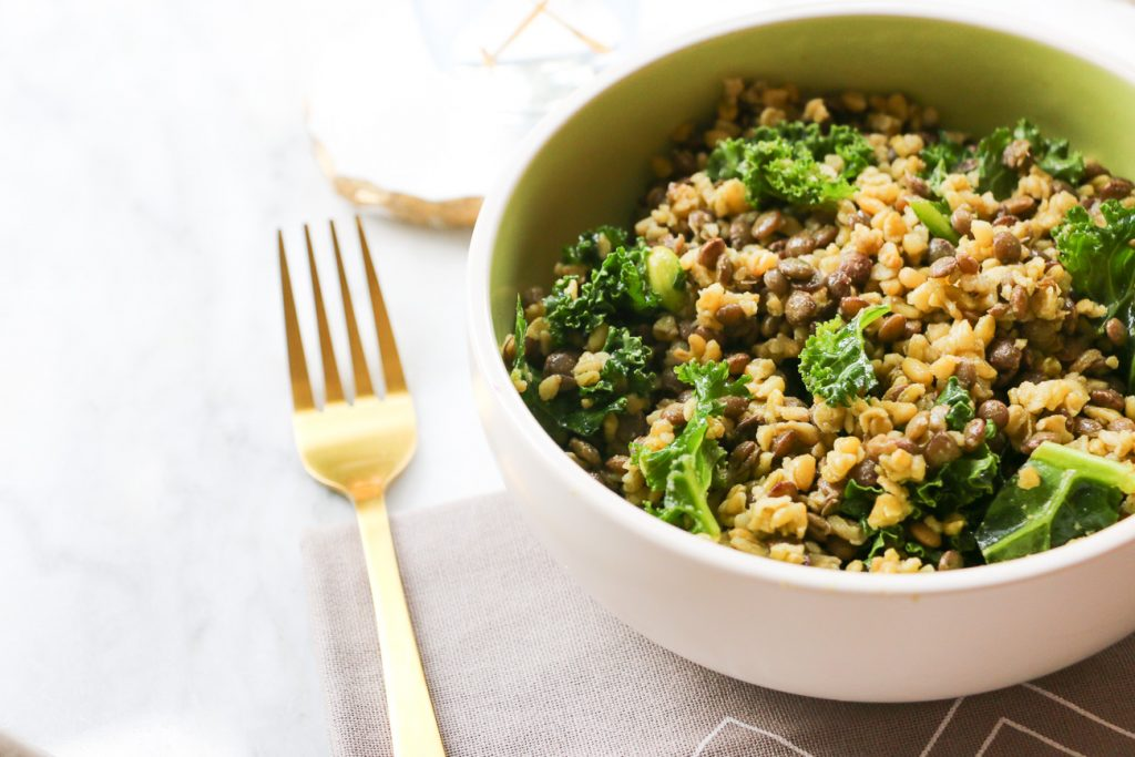 Brown Rice, Lentil and Kale Salad winter warmer salad bowl flat lay