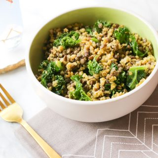fresh healthy brown rice, lentil and kale salad