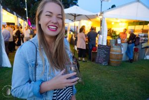 Girl at Taste of Sydney drinking local wine