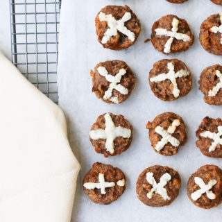 easter paleo hot cross buns on baking tray