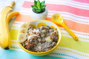 vitasoy black chia seed coconut vanilla pudding with succulent on colourful table linen