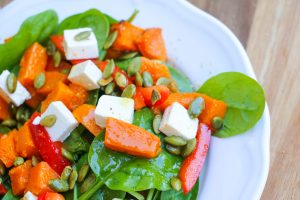 healthy pumpkin spinach feta and capsicum salad
