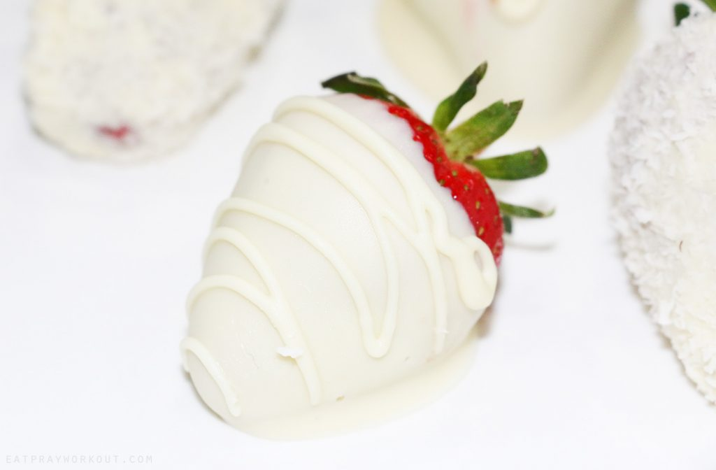 white chocolate dipped covered strawberry