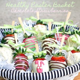 easter basket with healthy chocolate dipped strawberries
