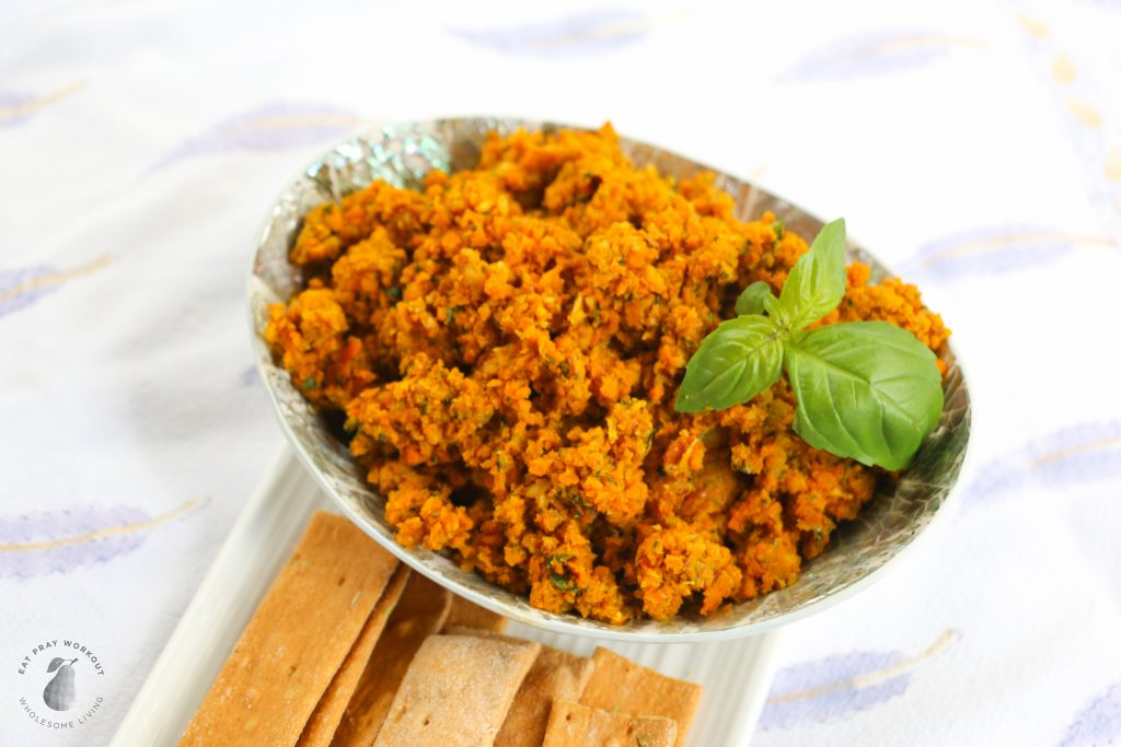 fresh roast carrot and pecan dip with crackers