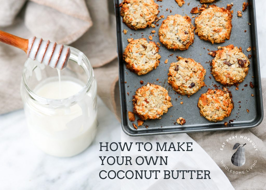 homemade coconut butter in jar with muesli cookies healthy cooking pantry staples