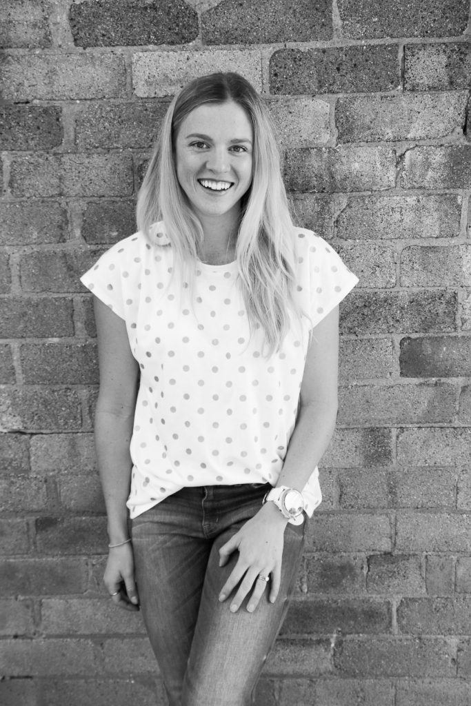 Black and white photo of smiling blonde Amy Australian top health blogger Eat Pray Workout at Burnbank House Wentworth Falls Blue Mountains