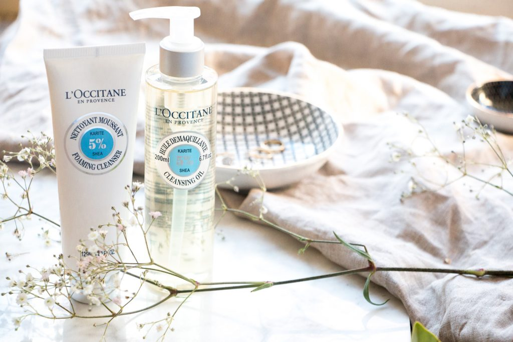 l'occitane the art of double cleansing foaming cleanser to remove impurities and cleansing oil to remove makeup