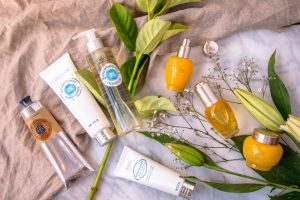 win l'occitane skin products with fresh flowers and linen
