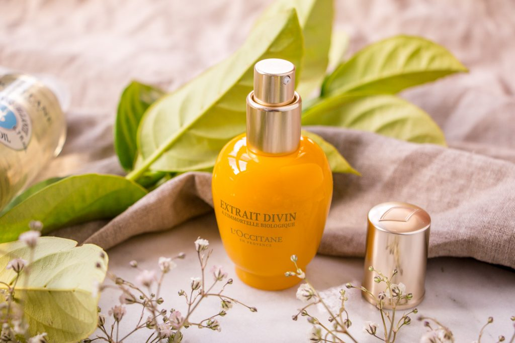 l'occitane immortelle divine extract review winter skincare facial products with flowers and linen