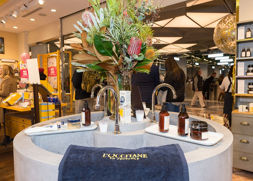 l'occitane canberra beauty centre opening australian native florals on basin with creams