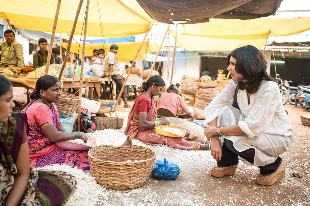celebrity chef Anjum Anand in india with women at markets