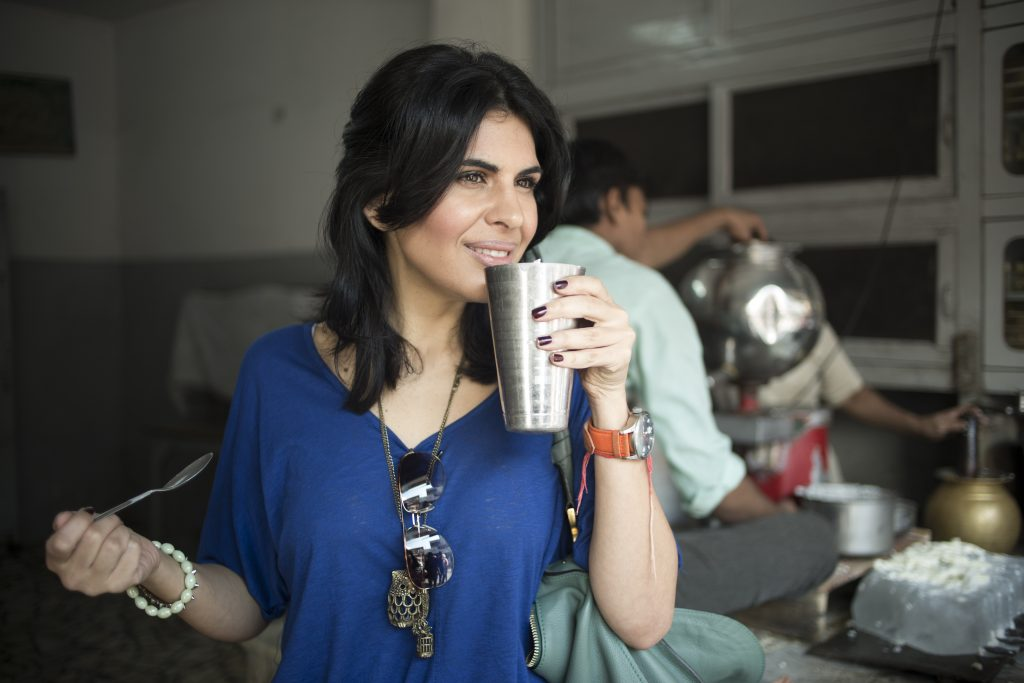 how to make indian healthier with celebrity chef Anjum Anand drinking in cafe
