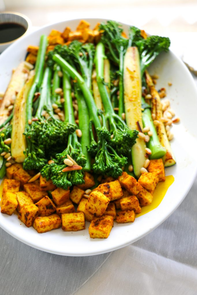 brocollini, zucchini and tumeric tofu salad