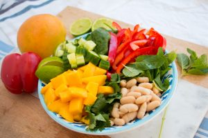 mango bean capsicum and greens salad