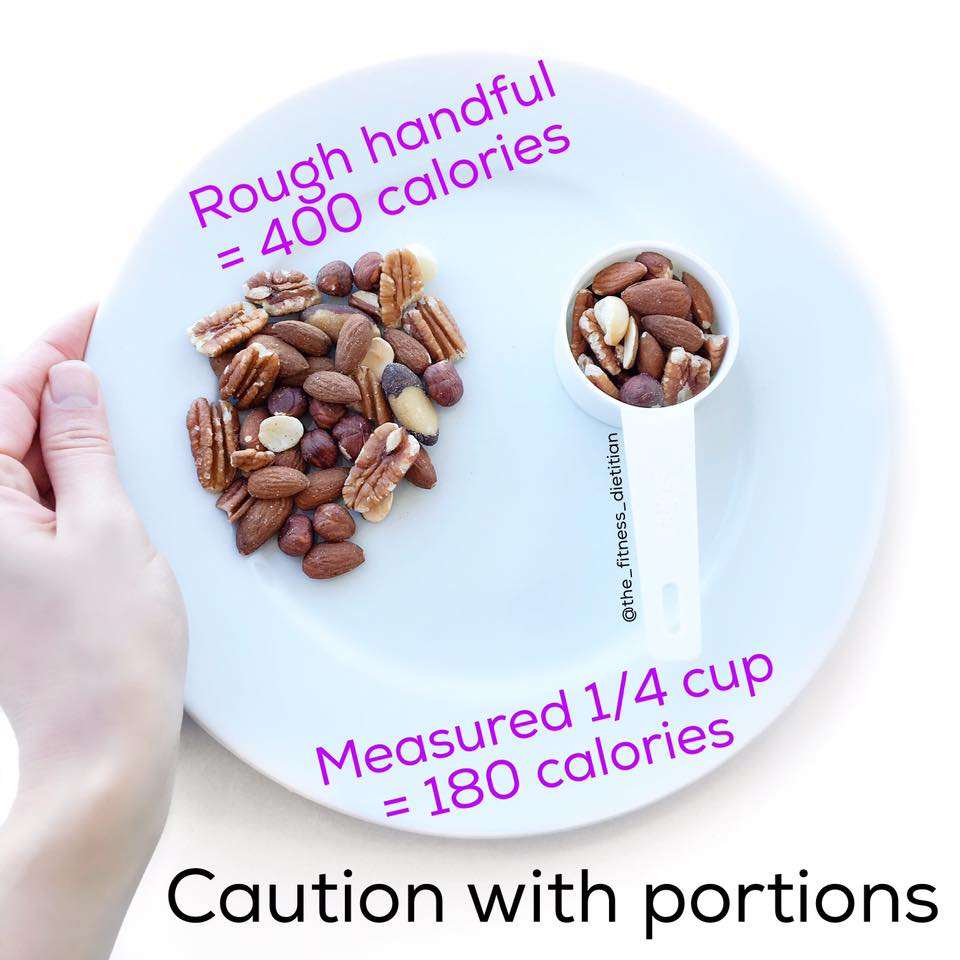 portion size comparisons nuts handful vs measured 1/4 cup