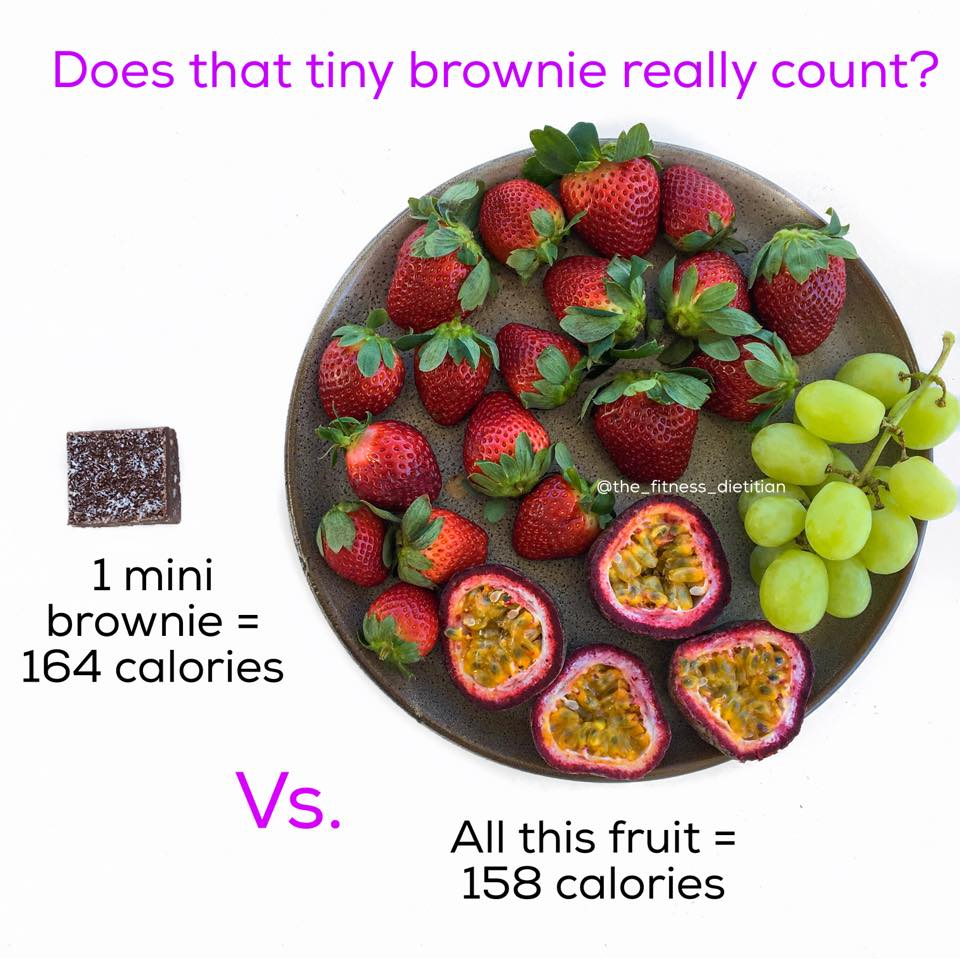 portion size comparisons tiny chocolate brownie vs fruit serving