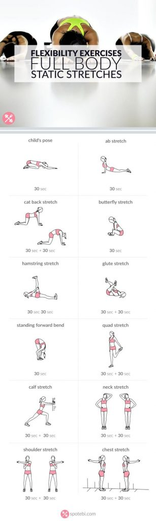 full body static stretches for flexibility illustrated