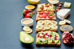 set healthy sandwiches with vegetables and fruits with the ingredients portion sizes matter