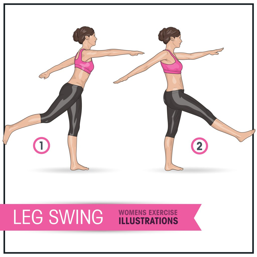 leg swing womens exercise illustration of dynamic stretching