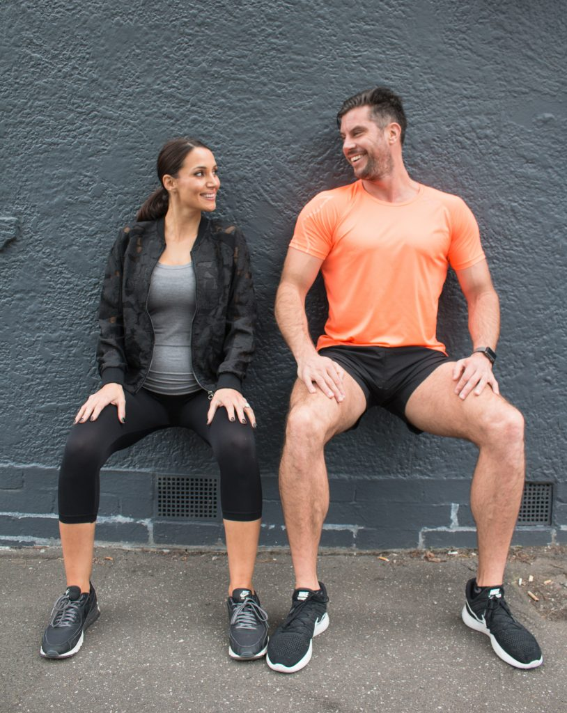 sam woof and snez pregnant wall sit training