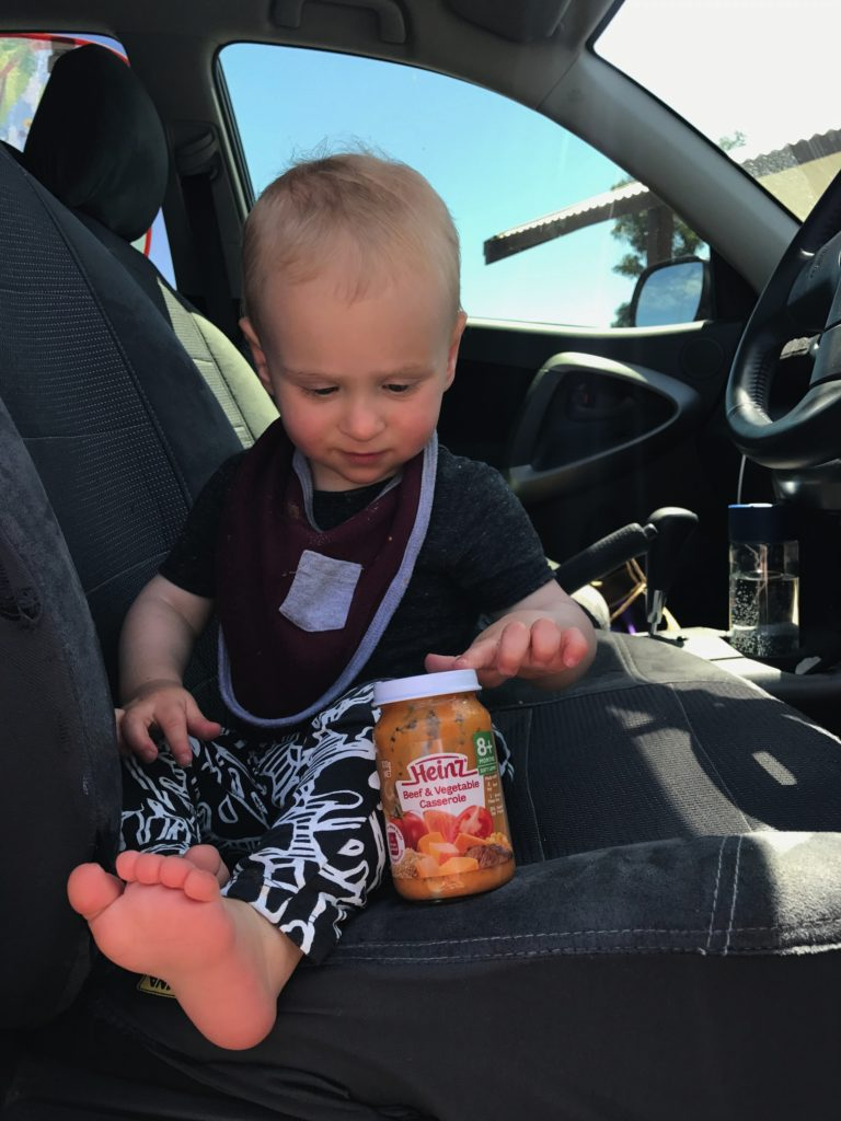 Finn and Heinz baby Food in a jar eat pray workout
