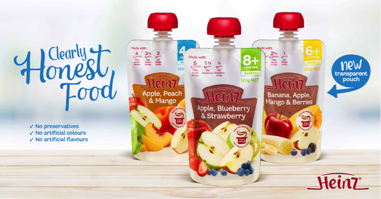 heinz baby food pouches clearly honest food