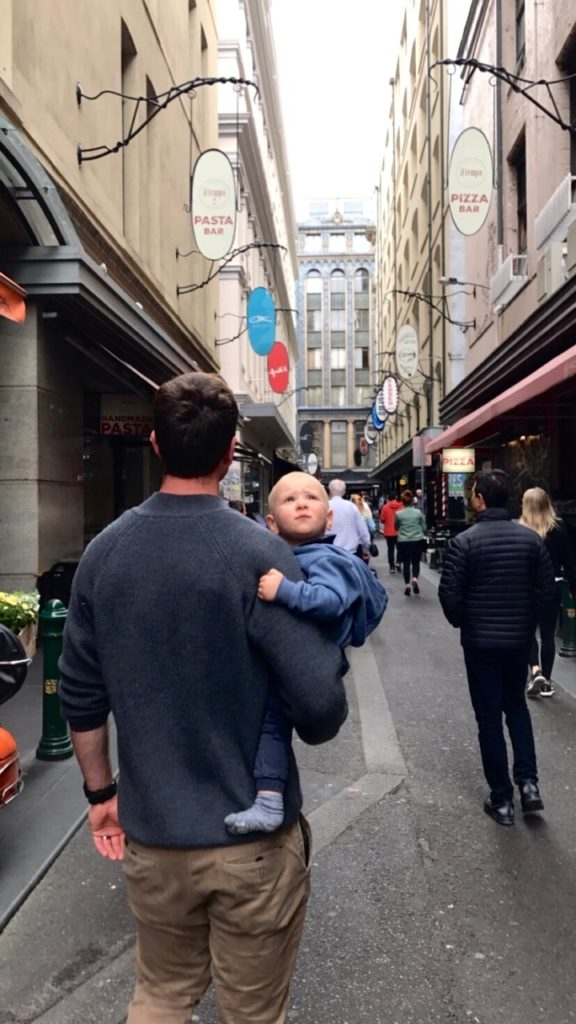 Reis Dad and Baby Finn exploring in Melbourne Degraves Street