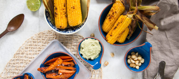 Lime Macadamia Dip with Sweet Potato Chips and Grilled Corn + Win 1kg Aus Macadamias
