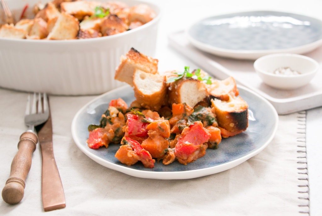 Italian Homemade Baked Beans with Cheesy Herb Ciabatta Topping HelloFresh Eat Pray Workout