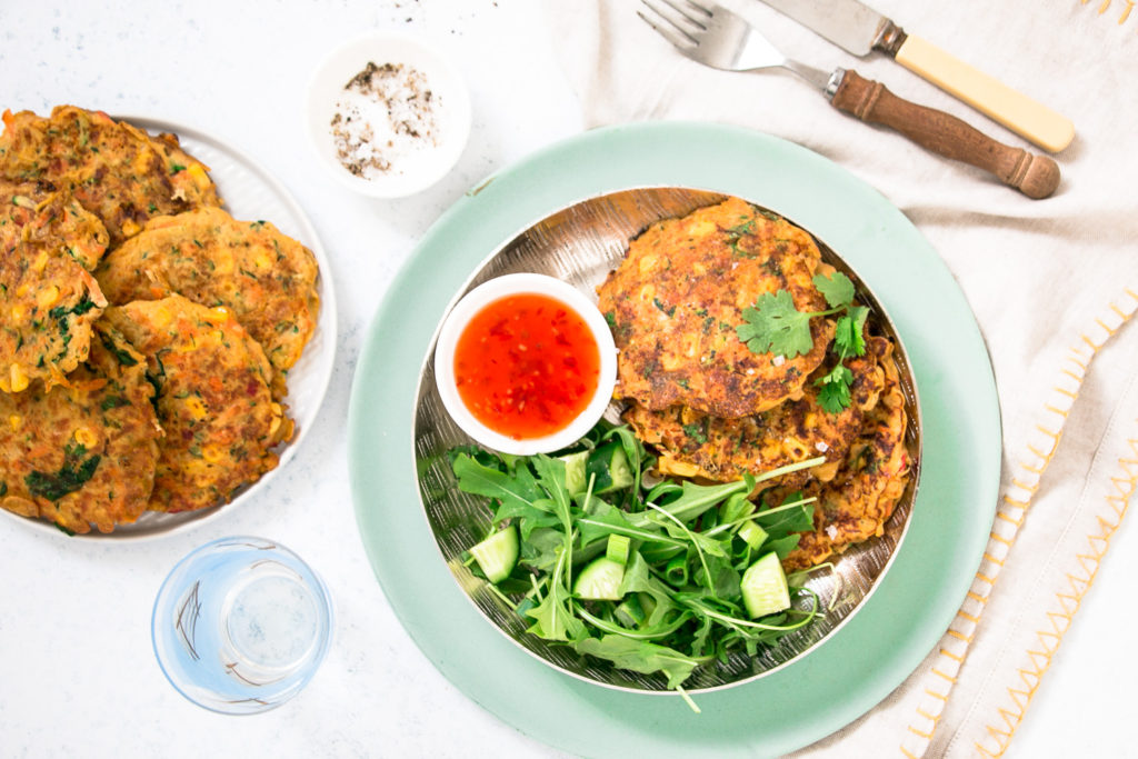 Autumn Sweetcorn & Haloumi Fritters with Thai-Dressed Cucumber Salad