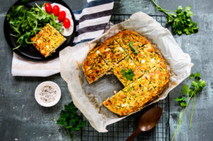 Easy Zucchini, Ham and Feta Frittata (gluten free, low FODMAP)