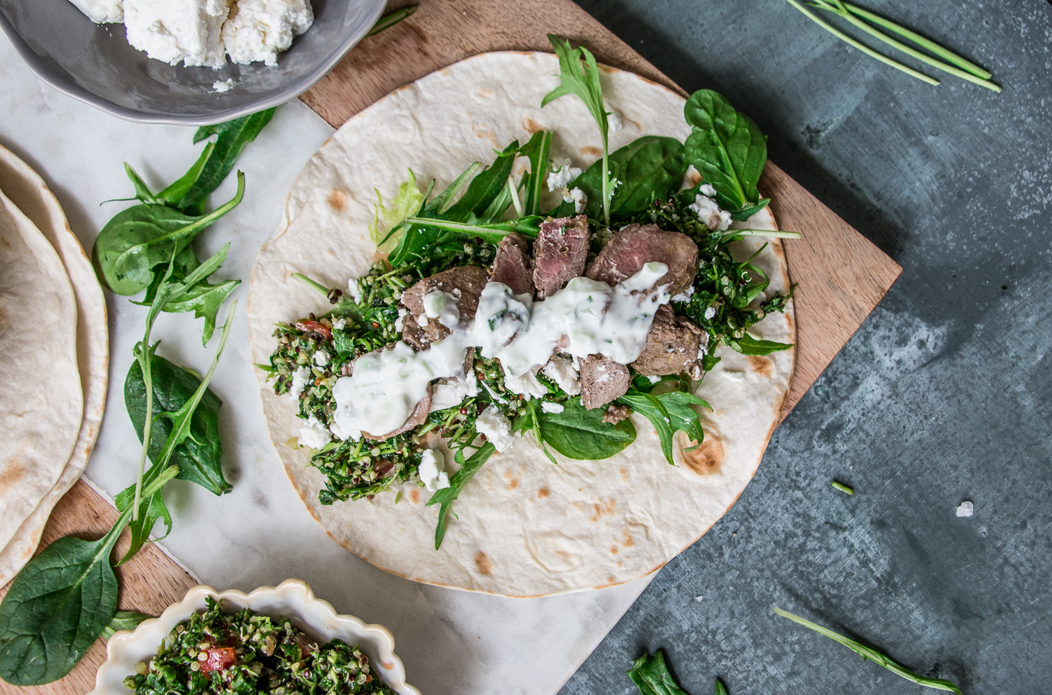 Healthy Lamb Wrap with Tzatziki and Tabouleh (gluten free, FODMAP friendly) eat pray workout