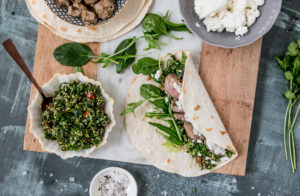 Healthy Lamb Wrap with Tzatziki and Tabouleh (gluten free, FODMAP friendly)