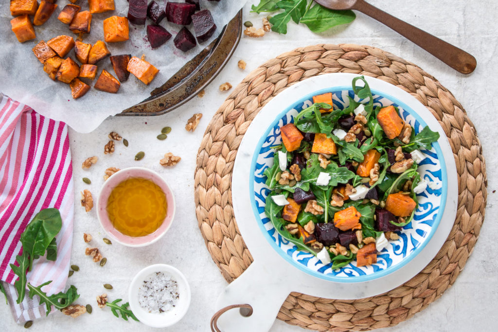 Roasted Beetroot, Pumpkin and Feta Salad vegetarian recipe