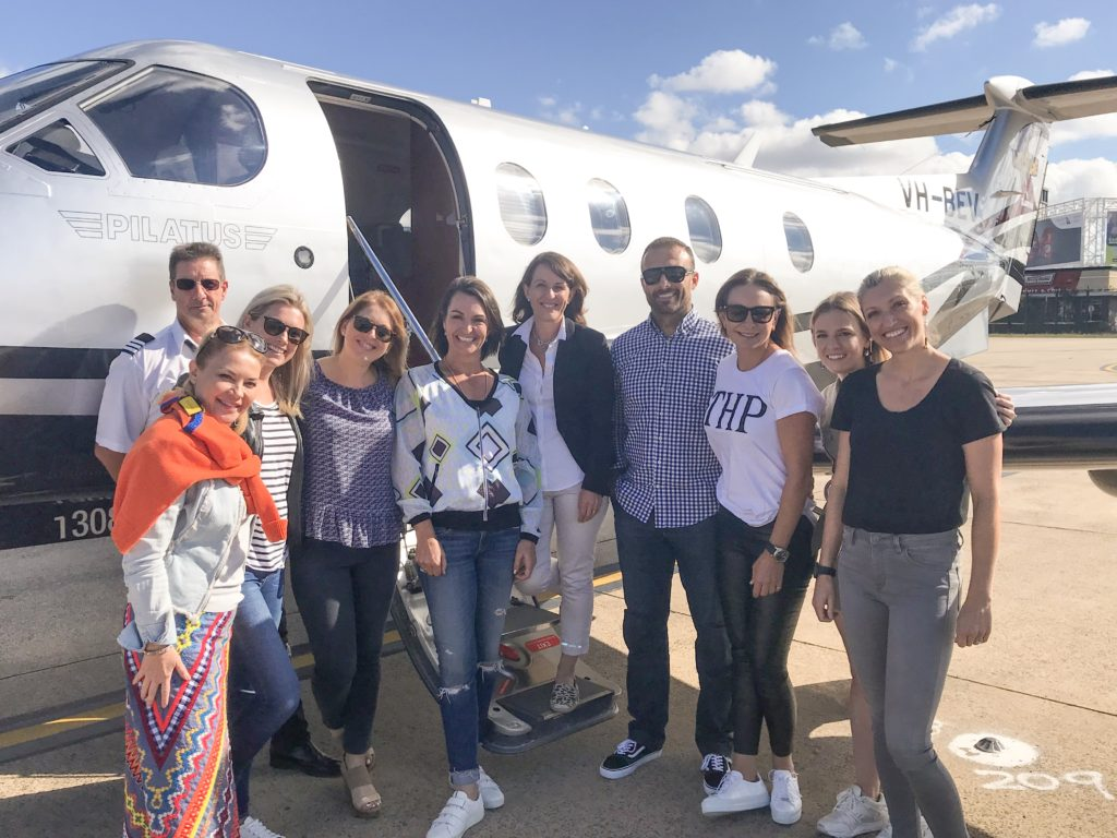 Cobram Estate Olive Oil Influencers and Professionals Trip 2018 group photo boarding private jet.