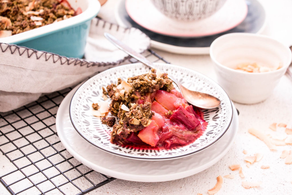 Healthy Dessert Recipe with Banana Flour - Rhubarb, Pistachio and Ginger Crumble served on plate