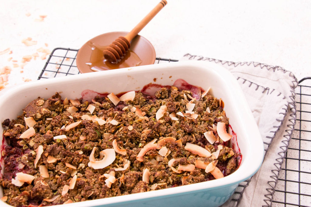 Healthy Dessert Recipe with Banana Flour - Rhubarb, Pistachio and Ginger Crumble