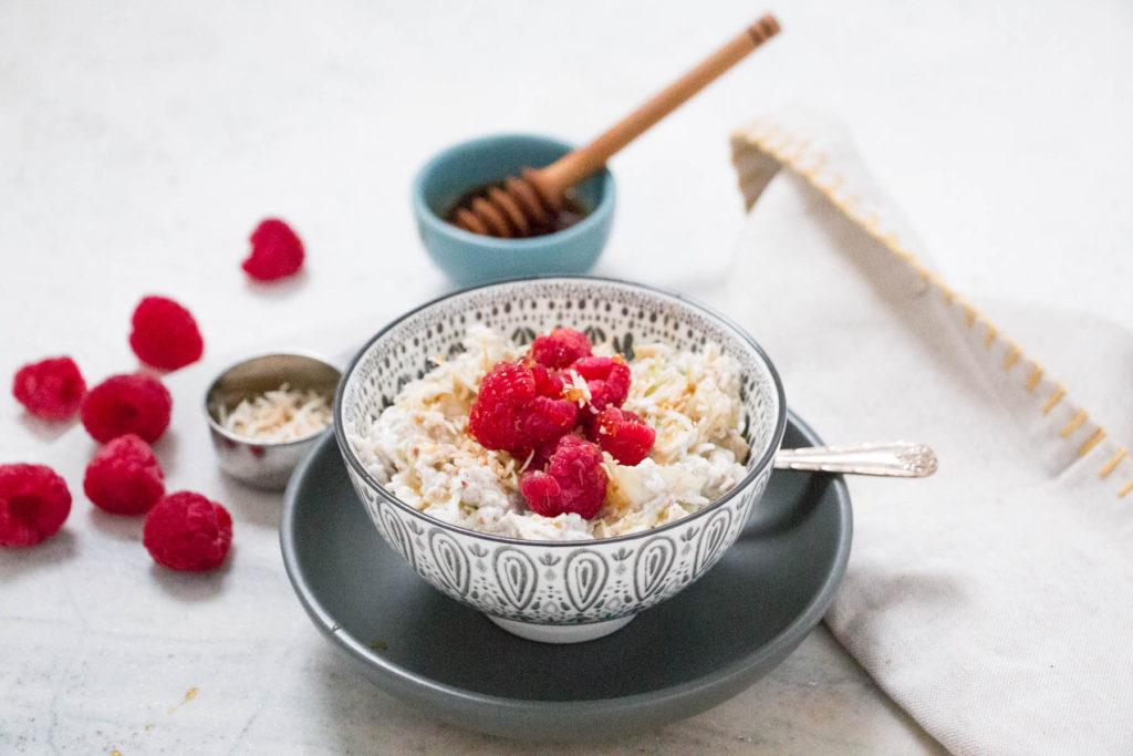 Healthy and Quick Apple, Raspberry and Coconut Bircher Muesli - An on-the-go breakfast recipe